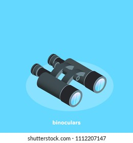 black binoculars on a blue background, isometric image