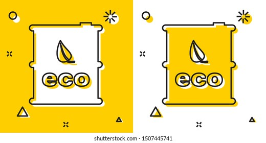 Black Bio fuel barrel icon isolated on yellow and white background. Eco bio and canister. Green environment and recycle. Random dynamic shapes. Vector Illustration