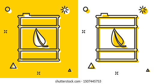 Black Bio fuel barrel line icon isolated on yellow and white background. Eco bio and canister. Green environment and recycle. Random dynamic shapes. Vector Illustration