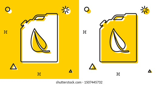 Black Bio fuel canister icon isolated on yellow and white background. Eco bio and barrel. Green environment and recycle. Random dynamic shapes. Vector Illustration