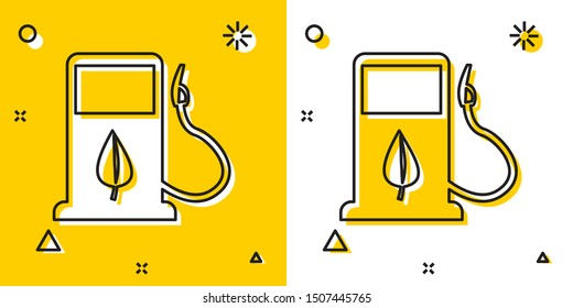 Black Bio fuel concept with fueling nozzle and leaf icon isolated on yellow and white background. Gas station with leaves. Eco refueling. Random dynamic shapes. Vector Illustration