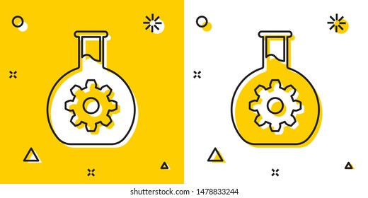 Black Bioengineering icon isolated on yellow and white background. Element of genetics and bioengineering icon. Biology, molecule, chemical icon. Random dynamic shapes. Vector Illustration