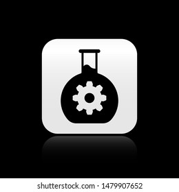 Black Bioengineering icon isolated on black background. Element of genetics and bioengineering icon. molecular Biology chemical icon. square button. Vector Illustration