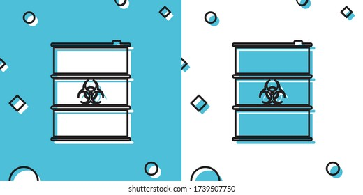 Black Biological hazard or biohazard barrel icon isolated on blue and white background. Radioactive garbage emissions, environmental pollution, danger of ecological disaster. Vector Illustration