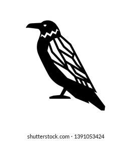 Black bird crow raven vector illustration. Black raven crow drawing with decorative wing