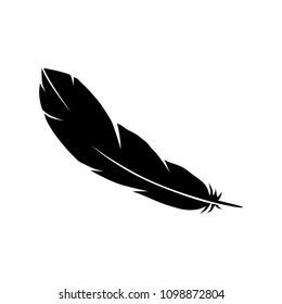 black bird feather. logo element