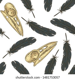 Black Bird Feather and Voodoo Crow Skull Seamless Vector Pattern on a White Background