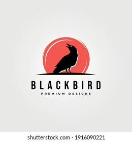 black bird icon logo vector with red background symbol illustration design