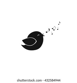 black bird icon . bird sings .cute little bird sings with its beak and fly notes, black bird vector. black bird sign