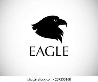 black bird logo - eagle head silhouette isolated on white background