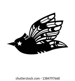 Black bird vector illustration. Black sparrow silhouette. Flying bird silhouette. Paper bird