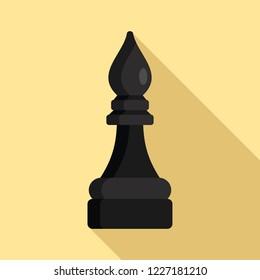 Black bishop chess piece icon. Flat illustration of black bishop chess piece vector icon for web design