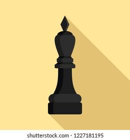 Black bishop icon. Flat illustration of black bishop vector icon for web design