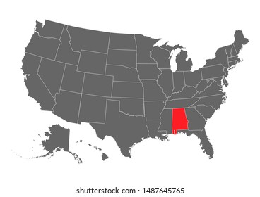 Black blank Alabama state map. Flat icon symbol vector illustration