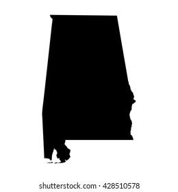 Black blank Alabama state map. Flat vector illustration. EPS10.