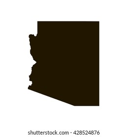 Black blank Arizona state map. Flat vector illustration. EPS10.