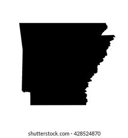 Black blank Arkansas state map. Flat vector illustration. EPS10.
