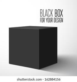 Black blank box. Vector illustration