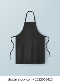 Black blank kitchen cotton apron isolated vector illustration. Realistic image