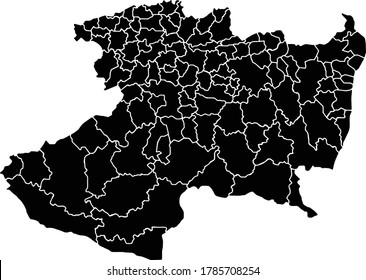 Black blank Michoacan state isolated map. Flat vector illustration. EPS8.