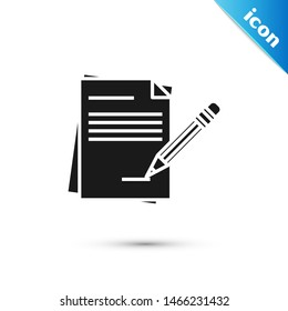Black Blank notebook and pencil with eraser icon isolated on white background. Paper and pencil.  Vector Illustration