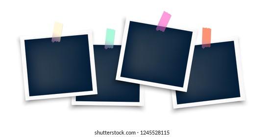 schwarzer Blanko-Fotoset mit Klebeband aufgeklebt. Realistische leere Vorlage für die Collage mit Aufkleber auf weißem Rahmen und Schatten.