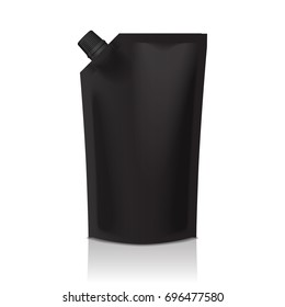 Black blank plastic doypack stand up pouch with spout. Flexible packaging mock up for food or drink for your design