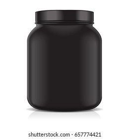Black Blank Plastic Jar isolated on white background. Sport Nutrition, Whey Protein or Gainer for your design