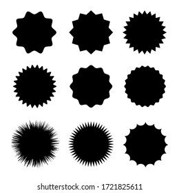 Black blank stickers promo set. Shine, stamp, starburst,sunburst,decoration, sunshine, glitter symbol. Hipster badges. Vector elements eps 10