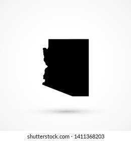 Black blank vector Arizona map. Isolated on white background.