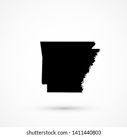 Black blank vector Arkansas map. Isolated on white background.