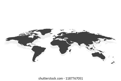 black blank world map fake3D