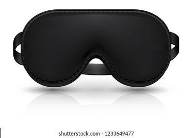 Black blindfold. Realistic sleeping mask for plane relax. Cover on eyes vector illustration