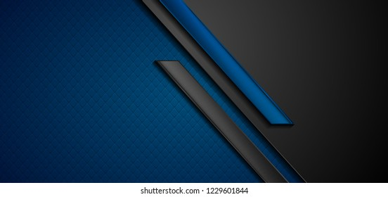 Black and blue abstract tech geometric background. Vector corporate design