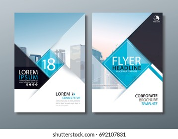 Black blue annual report brochure flyer design, Leaflet cover presentation, book cover template, layout in A4 size.