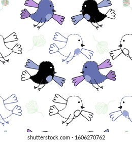 Black and blue bird and their contours on a white background. Vector pattern suitable for baby textiles.