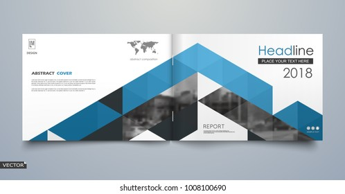 Black, blue business book mockup. A4 brochure cover design. Hi tech info banner. Title sheet model set. Modern vector front page art. Urban city house texture. Blue line frame icon. Flyer text font.