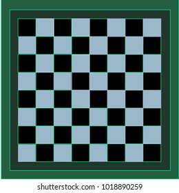 Black and Blue Chessboard with Green Border