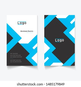 black and blue color business card, portrait style, international size