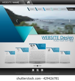 Black and blue fold technology one page business website template background for web shop design, in square area layout