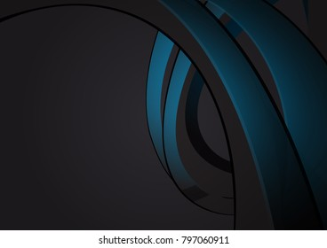 Black and blue geometric wave, abstract vector background with copy space for your business