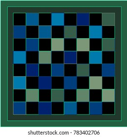 Black, Blue and Green Chessboard