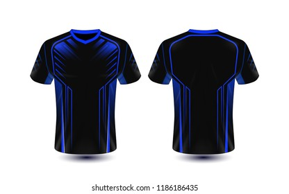 Black and blue layout e-sport t-shirt design template