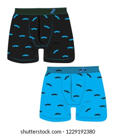 Black and blue men's underwear with a mustache pattern. Prostate Cancer awareness