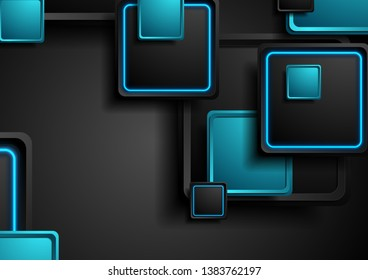 Black and blue neon squares abstract hi-tech background. Vector geometric design
