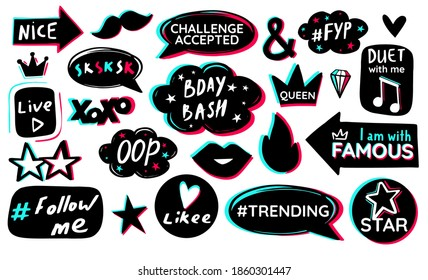 Black blue pink sticker pack white background. Modern music social media birthday celebration design. Icon fashion photo booth props. Vector graphic.