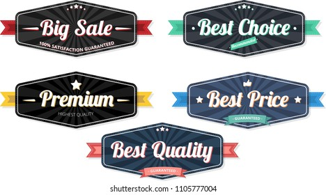 Black and blue shopping and consumerism label templates isolated on white background. Vector illustration.