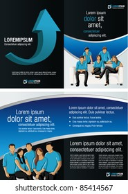 Black and Blue template for advertising brochure with business people