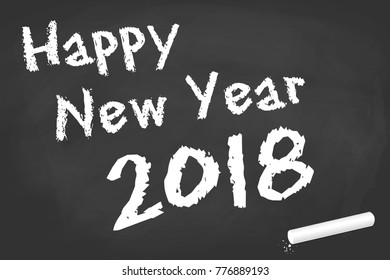 black board with chalk and text for New Year 2018 greetings