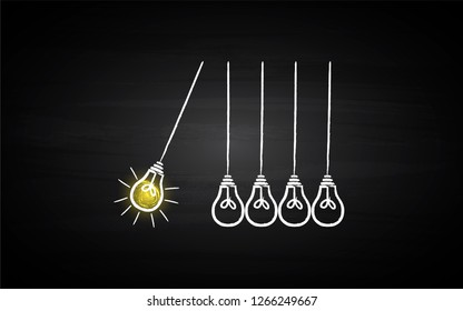 Black Board Illustration with a concept of bulbs pendulum with a bright bulb- Vector